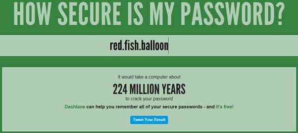 screenshot of howsecureismypassword result for red.fish.balloon