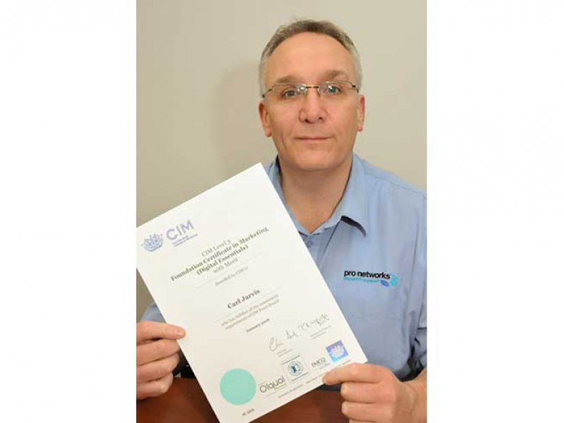 Carl Jarvis with Chartered Institute of Marketing Certificate