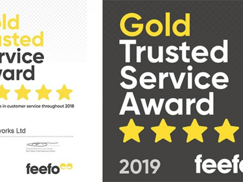 Feefo trusted service award certificate and badge