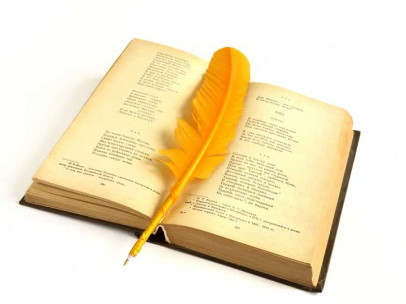 open book with feather quill