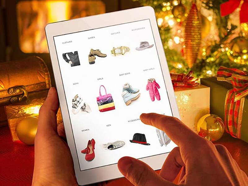 Tablet PC with Christmas theme backdrop