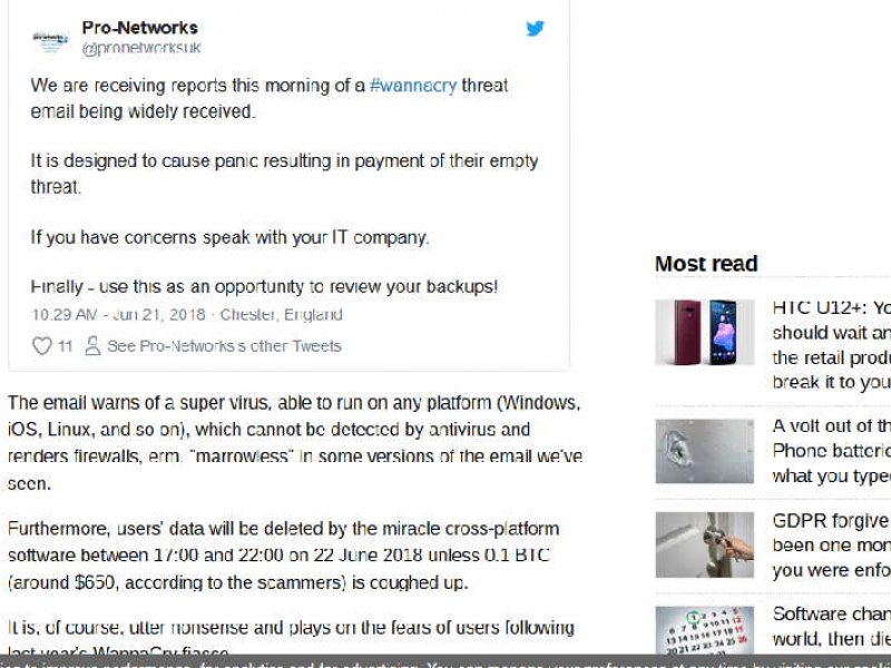 Pro-networks tweet featured in The Register