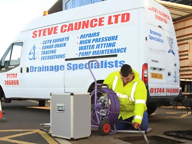 Steve Caunce van and engineer at work, St Helens, Merseyside