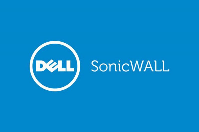 Dell SonicWall logo on blue background