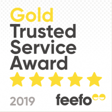 Feefo trusted service award badge 2019 white background