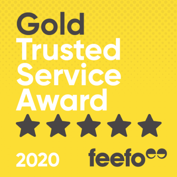 pro-networks feefo gold trusted service award 2020 yellow badge
