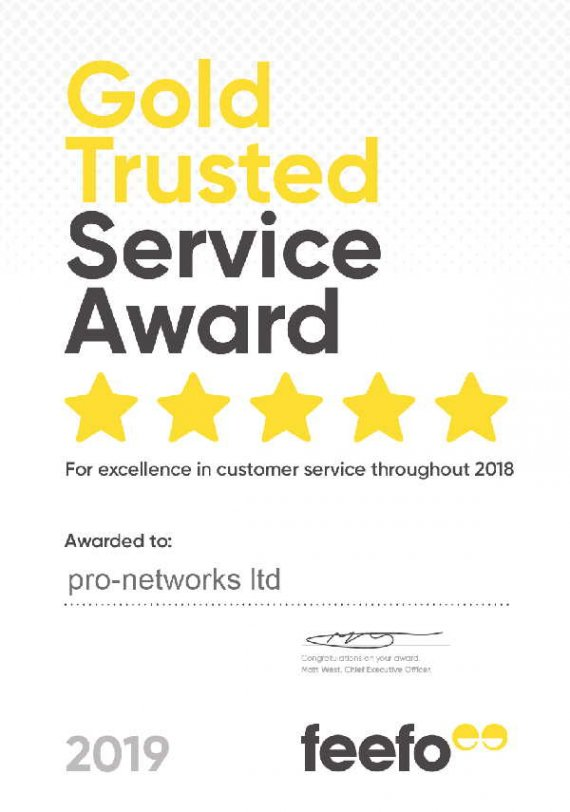 pro-networks gold trusted service award given by Feefo