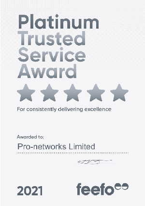 Pro-networks platinum award certificate