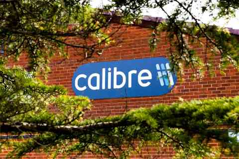 Sign on premises for Calibre Controls, Warrington, Cheshire