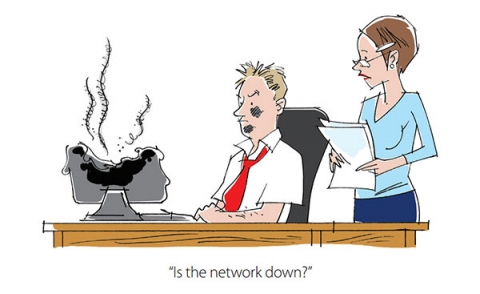 Cartoon asking is IT network down