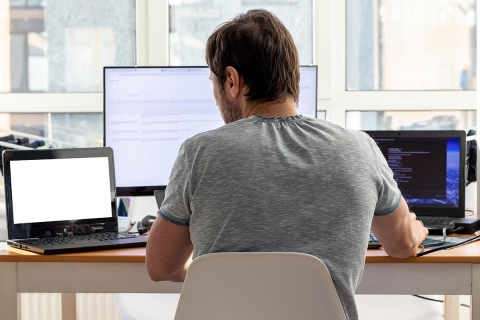 Working at home on PC and Laptop