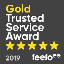 Feefo gold trusted service badge awarded to pro-networks 2019
