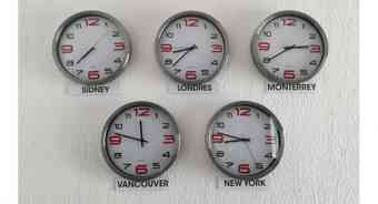 Clocks on the wall showing times in different world cities
